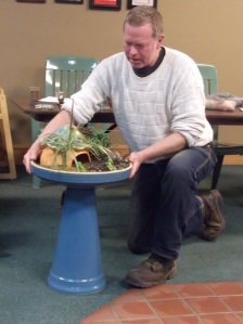 Brian Hovey from The Cabbage Patch Garden Center in Wabasha, MN demonstrated Fairy Gardens.